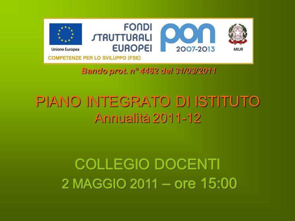 PIANO INTEGRATO DI ISTITUTO Annualità 2011-12 Bando prot. n° 4462 del 31/03/2011