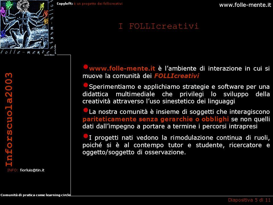 www.folle-mente.it Inforscuola2003 INFO: fiorluis@tin.it Comunità di pratica come learning circle I FOLLIcreativi Diapositiva 5 di 11 www.folle-mente.