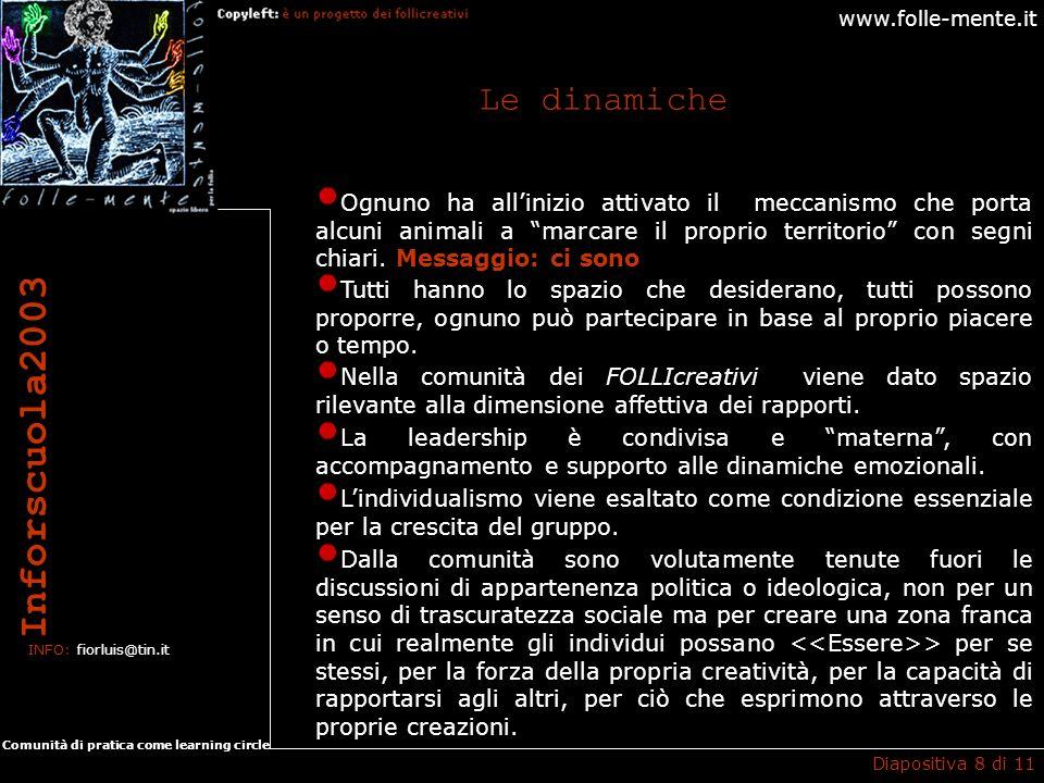www.folle-mente.it Inforscuola2003 INFO: fiorluis@tin.it Comunità di pratica come learning circle I progetti Diapositiva 9 di 11