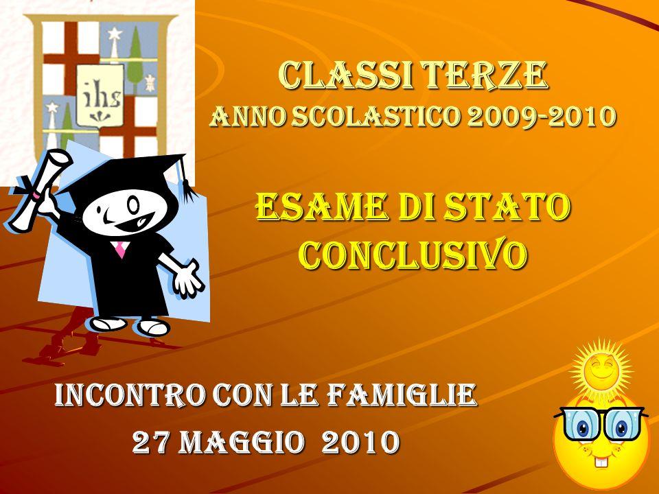 Classi terze anno scolastico 2009-2010 ESAME DI STATO CONCLUSIVO Incontro con le Famiglie 27 Maggio 2010