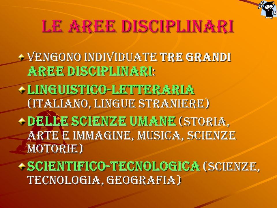 Le aree disciplinari Vengono individuate tre grandi aree disciplinari : linguistico-letteraria (italiano, lingue straniere) delle scienze umane (storia, arte e immagine, musica, scienze motorie) scientifico-tecnologica (scienze, tecnologia, geografia)