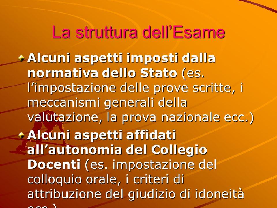 La struttura dellEsame Alcuni aspetti imposti dalla normativa dello Stato (es.