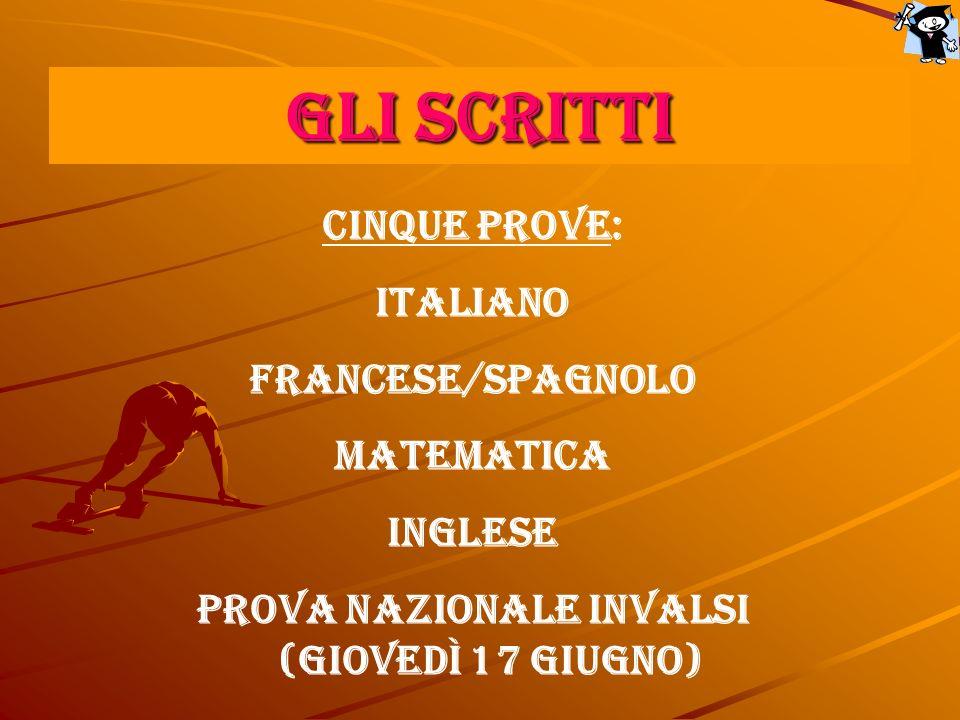 GLI SCRITTI CINQUE PROVE: Italiano Francese/Spagnolo Matematica Inglese Prova nazionale INVALSI (giovedì 17 giugno)