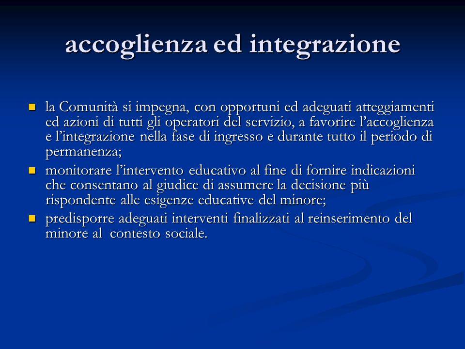 accoglienza ed integrazione la Comunità si impegna, con opportuni ed adeguati atteggiamenti ed azioni di tutti gli operatori del servizio, a favorire