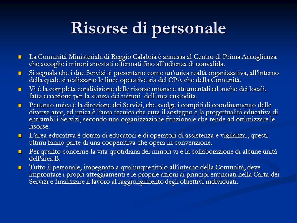 Risorse di personale La Comunità Ministeriale di Reggio Calabria è annessa al Centro di Prima Accoglienza che accoglie i minori arrestati o fermati fi
