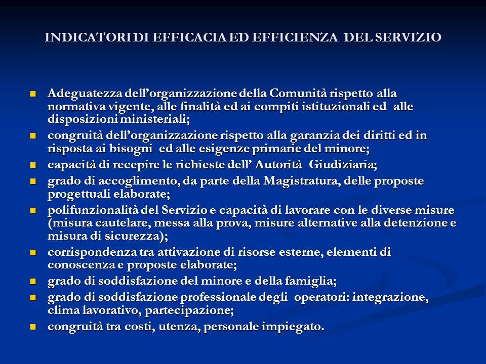 INDICATORI DI EFFICACIA ED EFFICIENZA DEL SERVIZIO Adeguatezza dellorganizzazione della Comunità rispetto alla normativa vigente, alle finalità ed ai