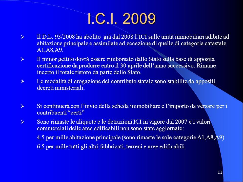 11 I.C.I. 2009 Il D.L. 93/2008 ha abolito già dal 2008 lICI sulle unità immobiliari adibite ad abitazione principale e assimilate ad eccezione di quel