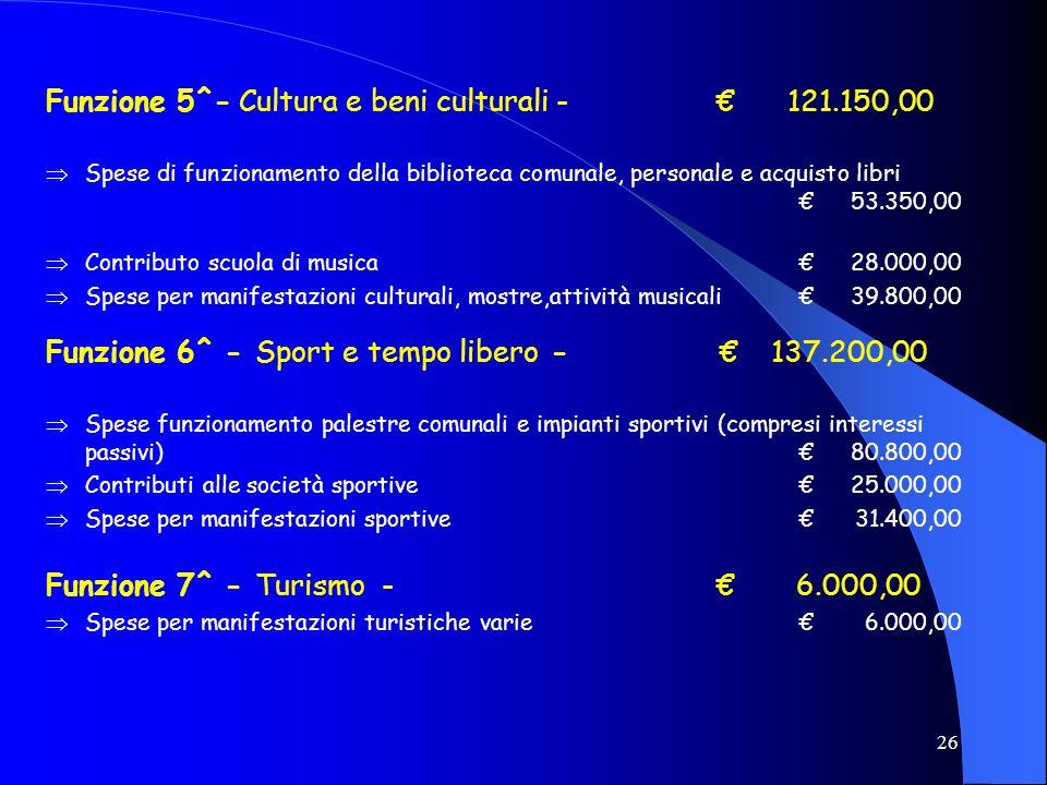 26 Funzione 5^- Cultura e beni culturali - 121.150,00 Spese di funzionamento della biblioteca comunale, personale e acquisto libri53.350,00 Contributo