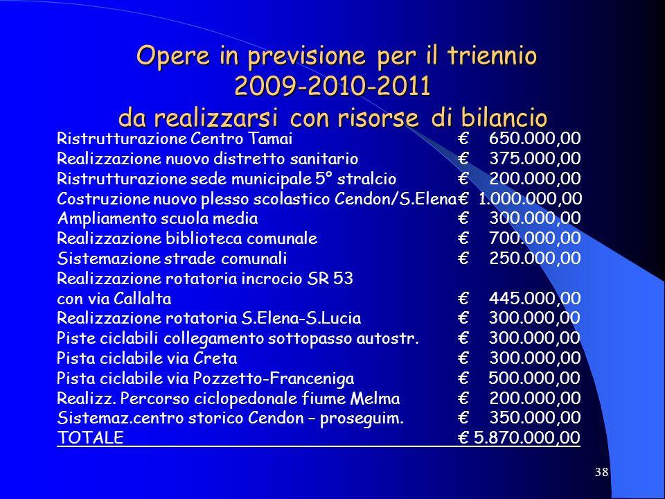 38 Opere in previsione per il triennio 2009-2010-2011 da realizzarsi con risorse di bilancio Opere in previsione per il triennio 2009-2010-2011 da rea