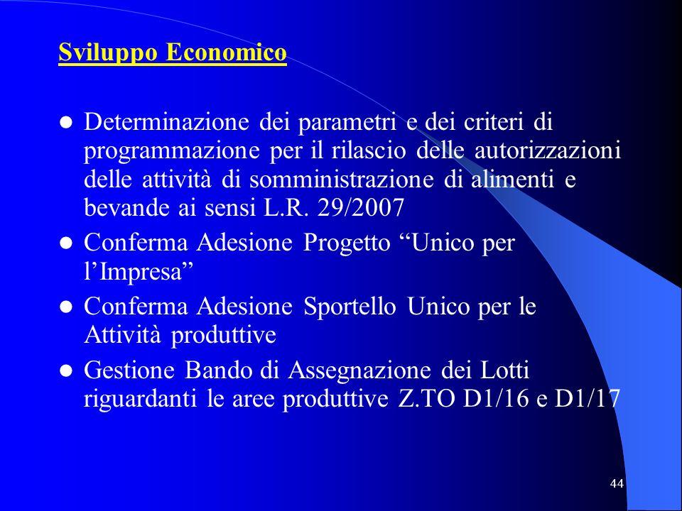 44 Sviluppo Economico Determinazione dei parametri e dei criteri di programmazione per il rilascio delle autorizzazioni delle attività di somministraz