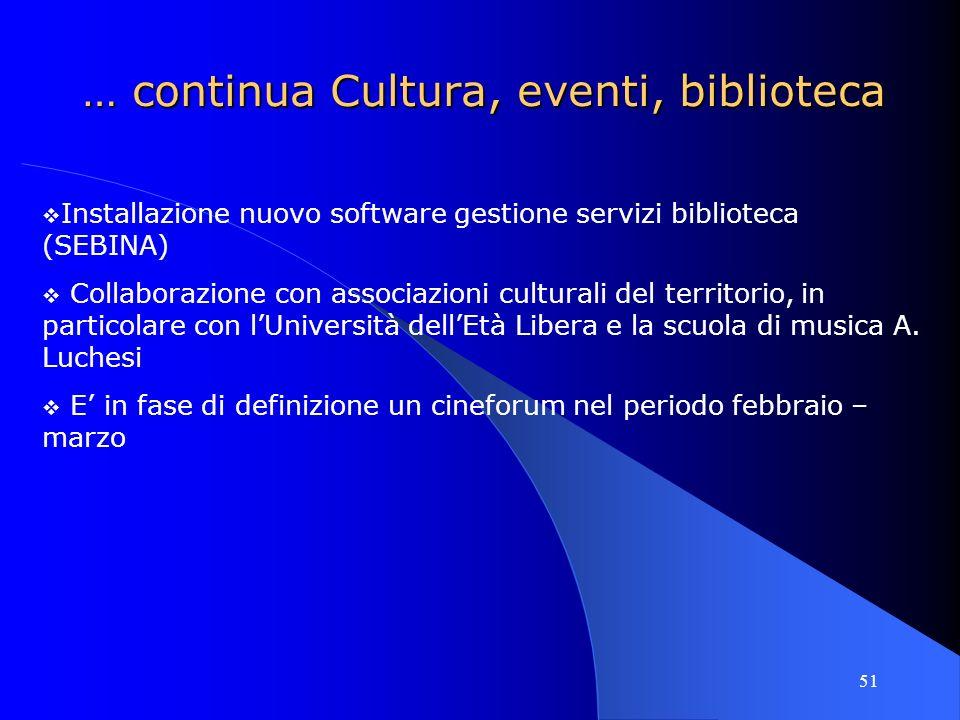 51 … continua Cultura, eventi, biblioteca Installazione nuovo software gestione servizi biblioteca (SEBINA) Collaborazione con associazioni culturali