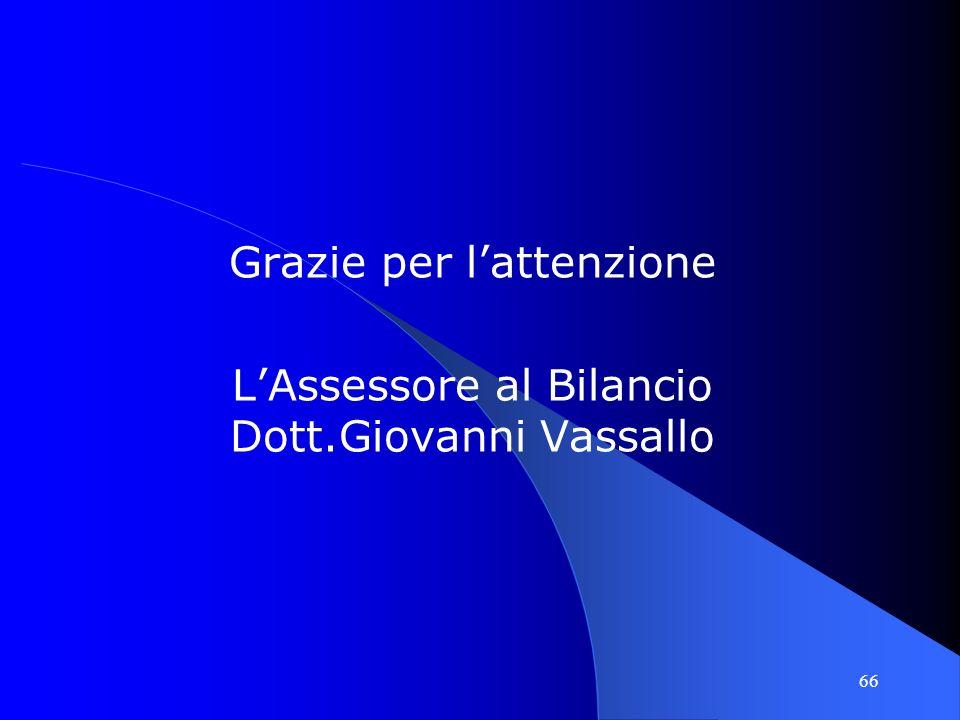 66 Grazie per lattenzione LAssessore al Bilancio Dott.Giovanni Vassallo
