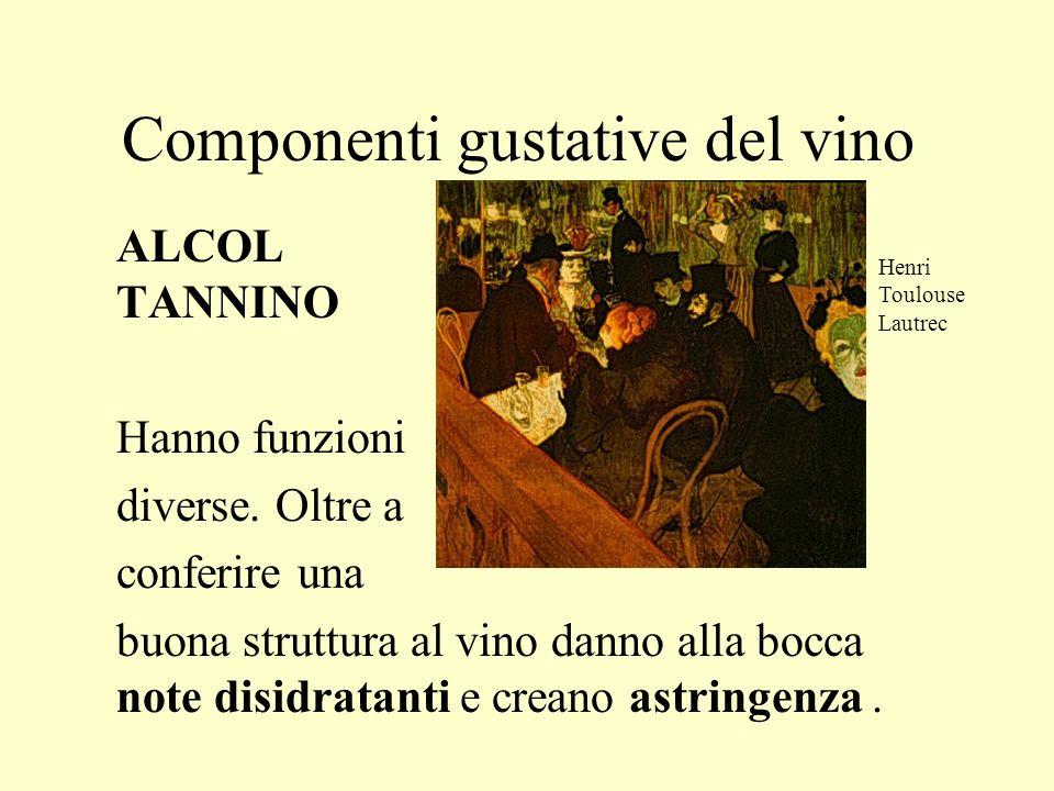 Componenti gustative del vino ALCOL TANNINO Hanno funzioni diverse. Oltre a conferire una buona struttura al vino danno alla bocca note disidratanti e