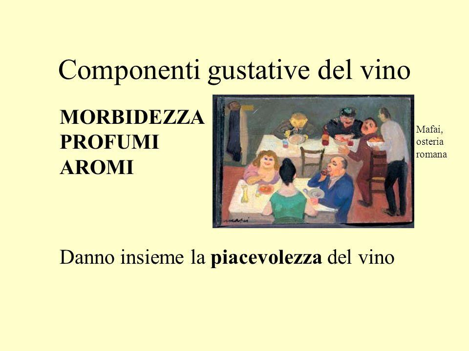 Componenti gustative del vino MORBIDEZZA PROFUMI AROMI Danno insieme la piacevolezza del vino Mafai, osteria romana