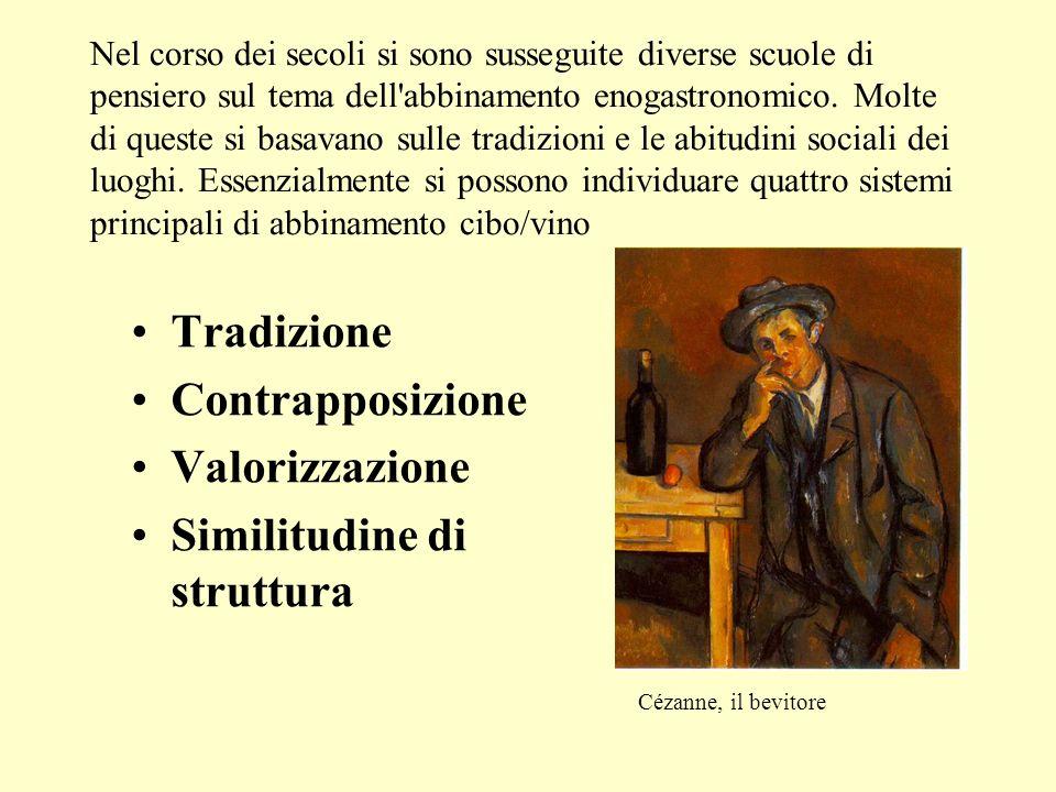 Nel corso dei secoli si sono susseguite diverse scuole di pensiero sul tema dell'abbinamento enogastronomico. Molte di queste si basavano sulle tradiz