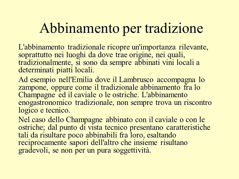 Abbinamento per tradizione L'abbinamento tradizionale ricopre un'importanza rilevante, soprattutto nei luoghi da dove trae origine, nei quali, tradizi