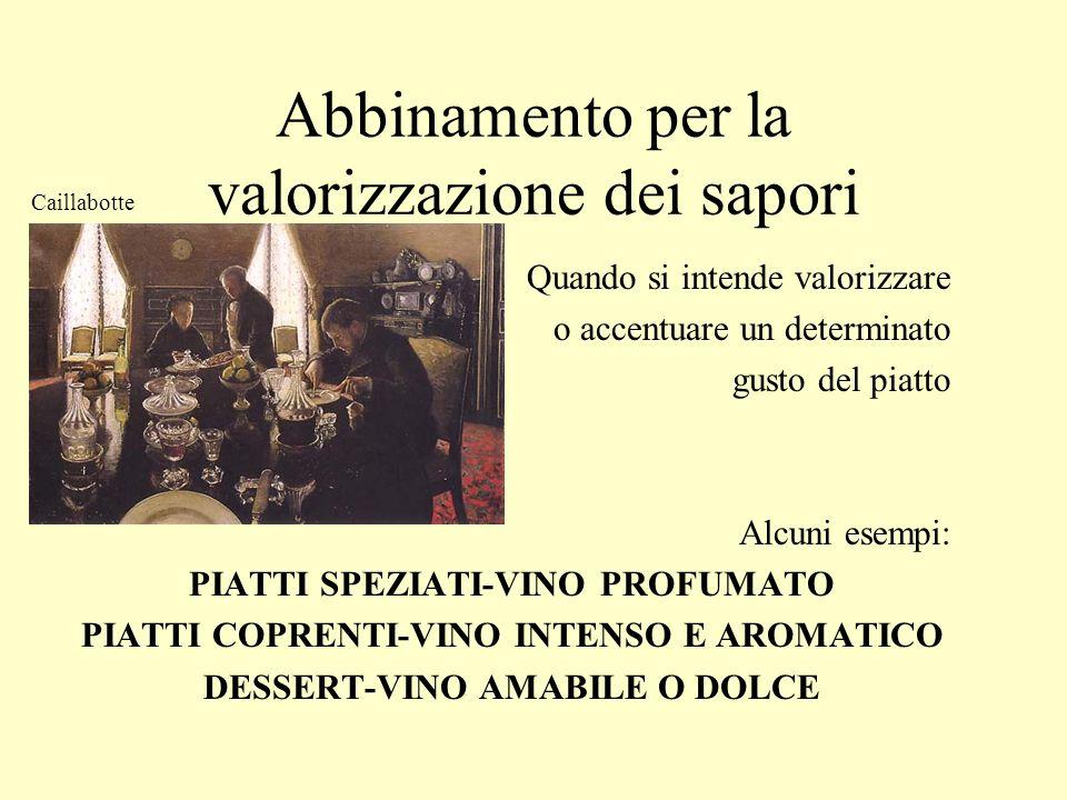 Abbinamento per la valorizzazione dei sapori Quando si intende valorizzare o accentuare un determinato gusto del piatto Alcuni esempi: PIATTI SPEZIATI