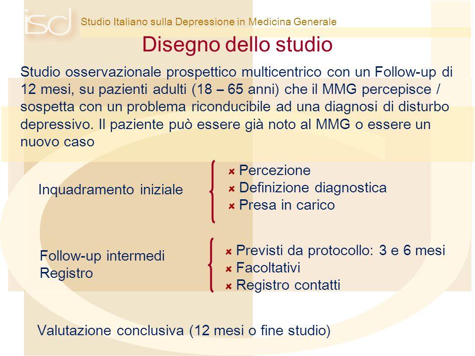 Studio Italiano sulla Depressione in Medicina Generale Disegno dello studio Valutazione conclusiva (12 mesi o fine studio) Studio osservazionale prosp