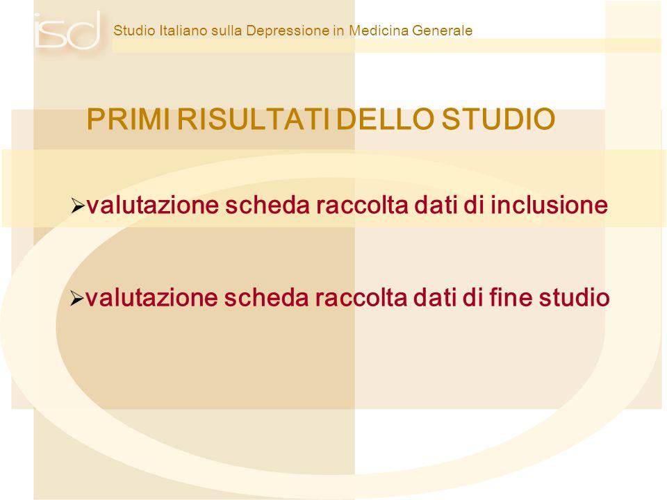 Studio Italiano sulla Depressione in Medicina Generale PRIMI RISULTATI DELLO STUDIO valutazione scheda raccolta dati di inclusione valutazione scheda