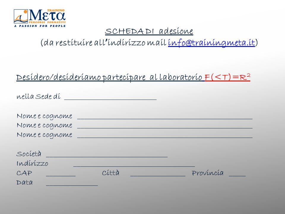 SCHEDA DI adesione (da restituire all indirizzo mail info@trainingmeta.it)info@trainingmeta.it Desidero/desideriamo partecipare al laboratorio F(<T)=R 2 nella Sede di _____________________________ Nome e cognome _______________________________________________________Nome e cognome _______________________________________________________ Società ______________________________________ Indirizzo ______________________________________ CAP_________Città_________________ Provincia _____ Data________________
