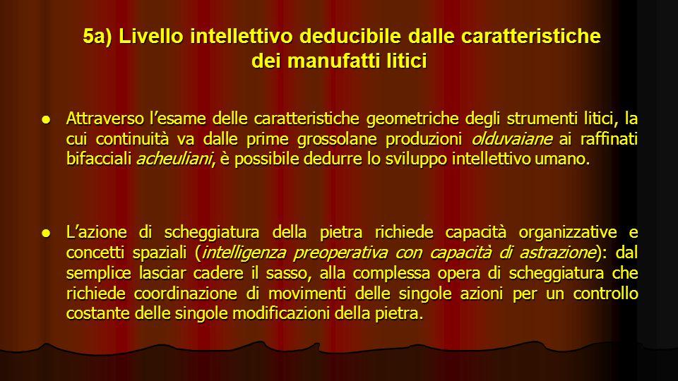 5a) Livello intellettivo deducibile dalle caratteristiche dei manufatti litici 5a) Livello intellettivo deducibile dalle caratteristiche dei manufatti