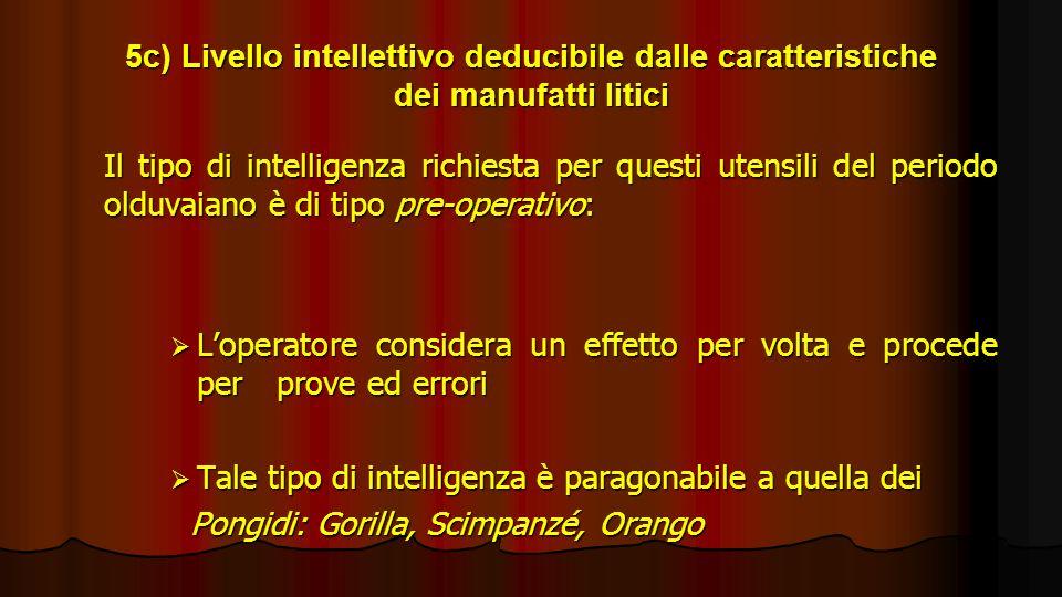 5c) Livello intellettivo deducibile dalle caratteristiche dei manufatti litici Il tipo di intelligenza richiesta per questi utensili del periodo olduv