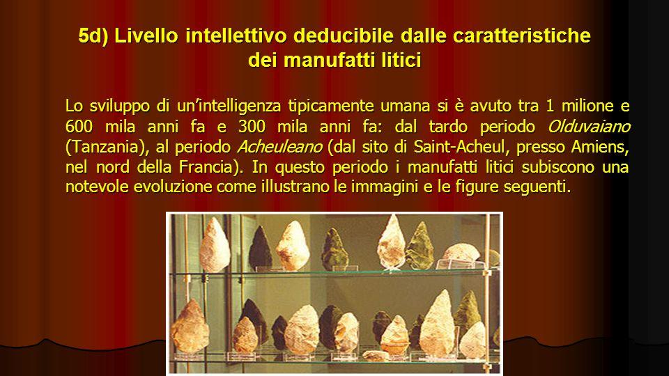 5d) Livello intellettivo deducibile dalle caratteristiche dei manufatti litici Lo sviluppo di unintelligenza tipicamente umana si è avuto tra 1 milion