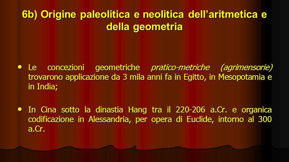 6b) Origine paleolitica e neolitica dellaritmetica e della geometria Le concezioni geometriche pratico-metriche (agrimensorie) trovarono applicazione