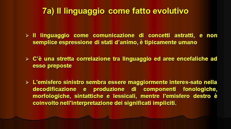 7a) Il linguaggio come fatto evolutivo Il linguaggio come comunicazione di concetti astratti, e non semplice espressione di stati danimo, è tipicament