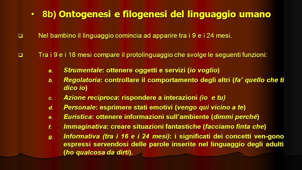 8b) Ontogenesi e filogenesi del linguaggio umano8b) Ontogenesi e filogenesi del linguaggio umano Nel bambino il linguaggio comincia ad apparire tra i
