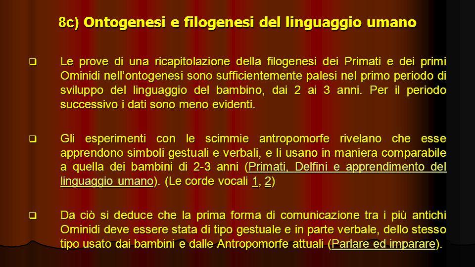 8c) Ontogenesi e filogenesi del linguaggio umano Le prove di una ricapitolazione della filogenesi dei Primati e dei primi Ominidi nellontogenesi sono