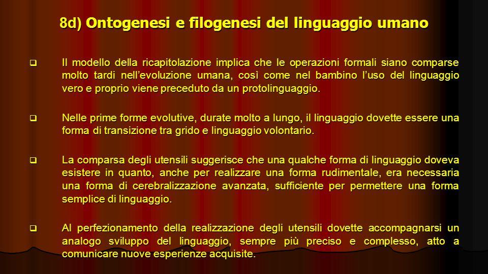 8d) Ontogenesi e filogenesi del linguaggio umano Il modello della ricapitolazione implica che le operazioni formali siano comparse molto tardi nellevo