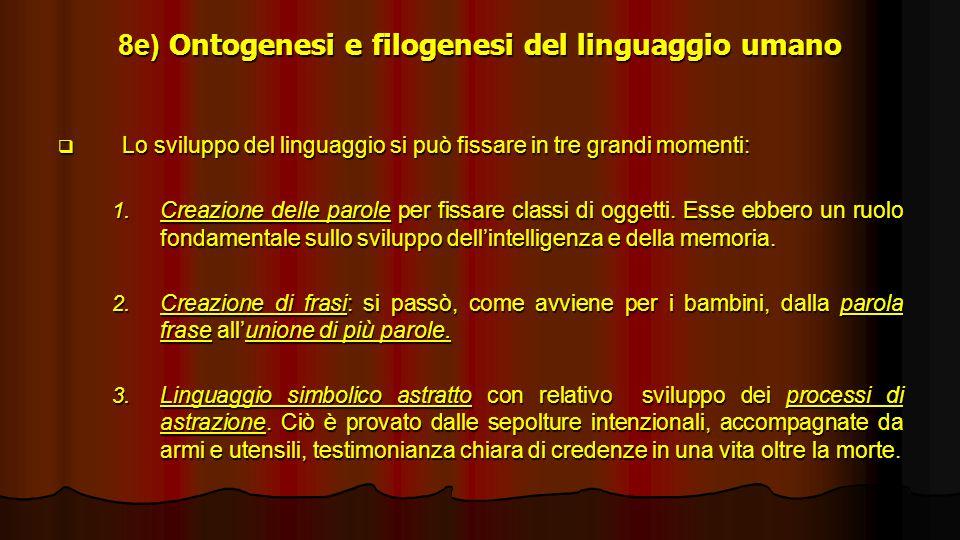 8e) Ontogenesi e filogenesi del linguaggio umano Lo sviluppo del linguaggio si può fissare in tre grandi momenti: Lo sviluppo del linguaggio si può fi
