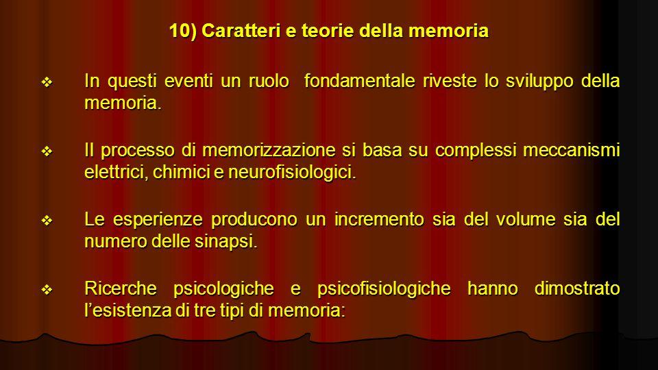 10) Caratteri e teorie della memoria In questi eventi un ruolo fondamentale riveste lo sviluppo della memoria. In questi eventi un ruolo fondamentale