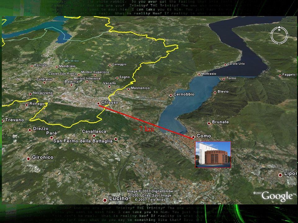 La diapositiva precedente mostra le localita di Como (Italia) e Chiasso (Svizzera) fra le quali si sta effettuando il test di crittografia quantistica.