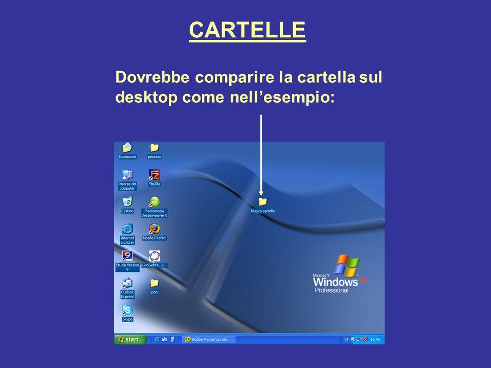 CARTELLE Dovrebbe comparire la cartella sul desktop come nellesempio: