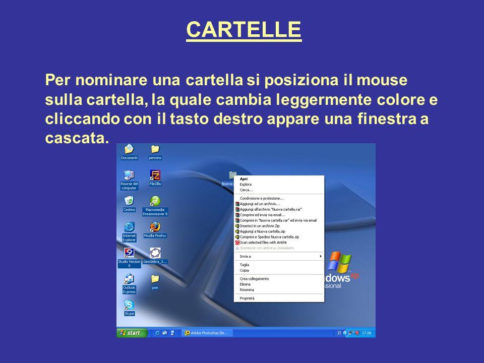 CARTELLE Per nominare una cartella si posiziona il mouse sulla cartella, la quale cambia leggermente colore e cliccando con il tasto destro appare una finestra a cascata.