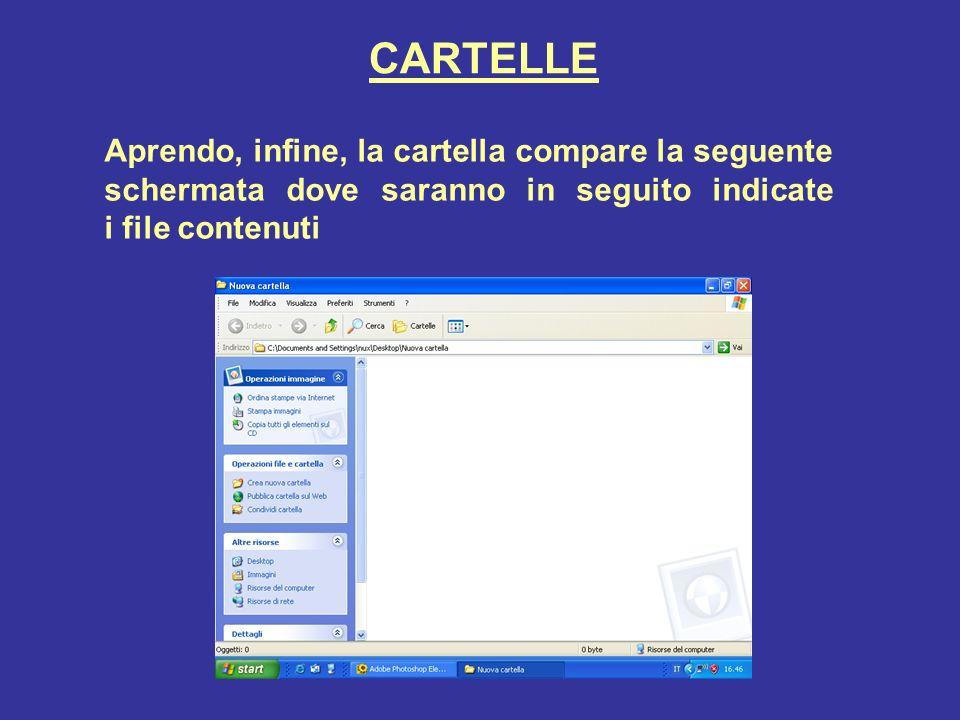 CARTELLE Aprendo, infine, la cartella compare la seguente schermata dove saranno in seguito indicate i file contenuti