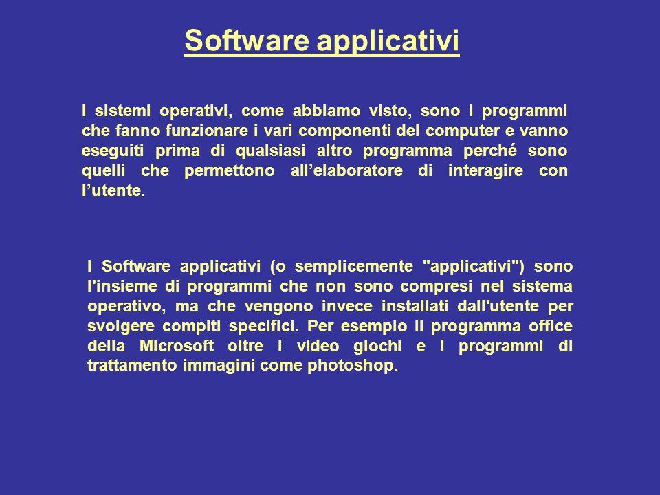 Software applicativi I sistemi operativi, come abbiamo visto, sono i programmi che fanno funzionare i vari componenti del computer e vanno eseguiti prima di qualsiasi altro programma perché sono quelli che permettono allelaboratore di interagire con lutente.