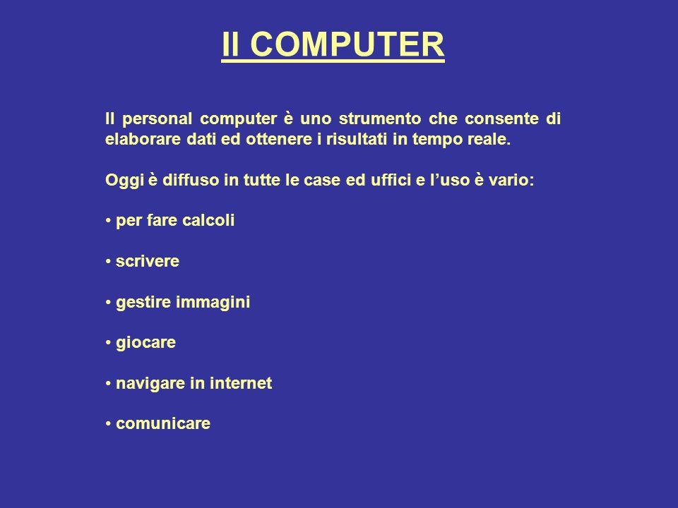Il COMPUTER Il personal computer è uno strumento che consente di elaborare dati ed ottenere i risultati in tempo reale.