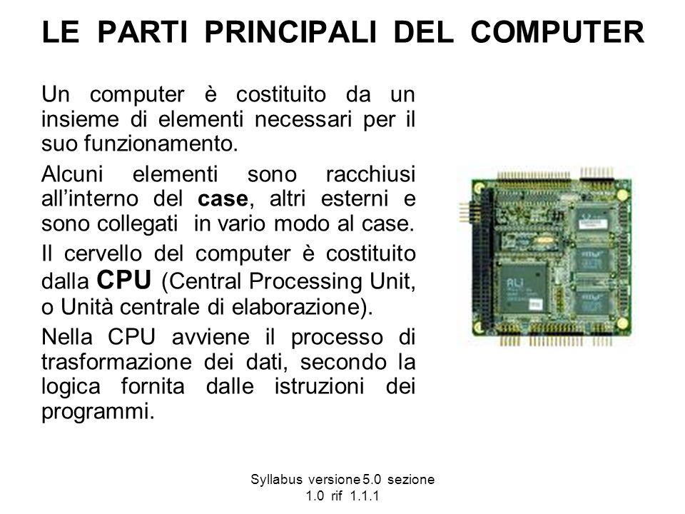 Syllabus versione 5.0 sezione 1.0 rif 1.1.1 LE PARTI PRINCIPALI DEL COMPUTER Un computer è costituito da un insieme di elementi necessari per il suo f