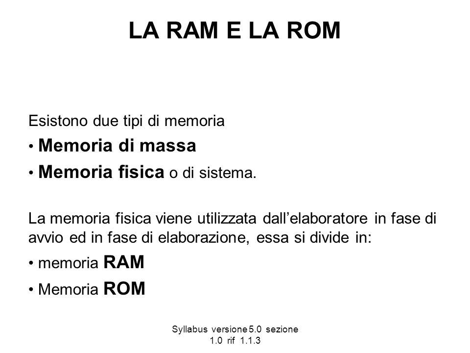 Syllabus versione 5.0 sezione 1.0 rif 1.1.3 LA RAM E LA ROM Esistono due tipi di memoria Memoria di massa Memoria fisica o di sistema. La memoria fisi