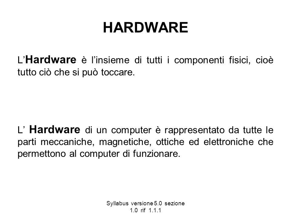 Syllabus versione 5.0 sezione 1.0 rif 1.1.1 HARDWARE L Hardware è linsieme di tutti i componenti fisici, cioè tutto ciò che si può toccare. L Hardware