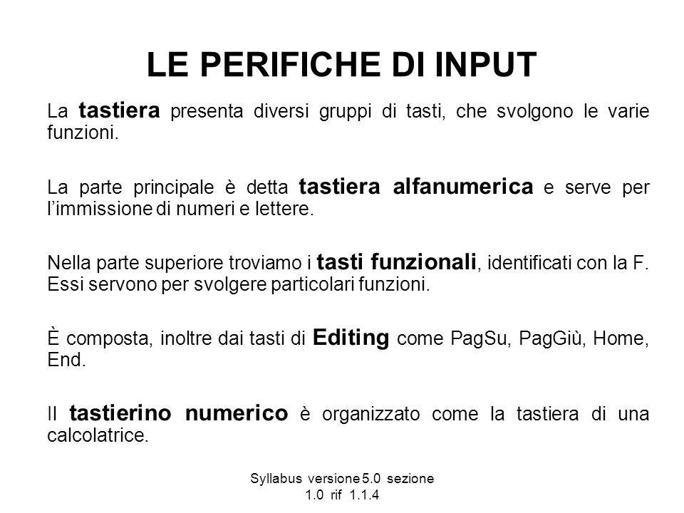 Syllabus versione 5.0 sezione 1.0 rif 1.1.4 LE PERIFICHE DI INPUT La tastiera presenta diversi gruppi di tasti, che svolgono le varie funzioni. La par