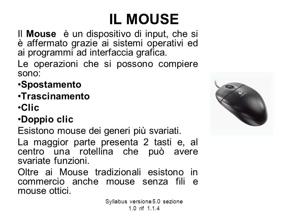 Syllabus versione 5.0 sezione 1.0 rif 1.1.4 IL MOUSE Il Mouse è un dispositivo di input, che si è affermato grazie ai sistemi operativi ed ai programm