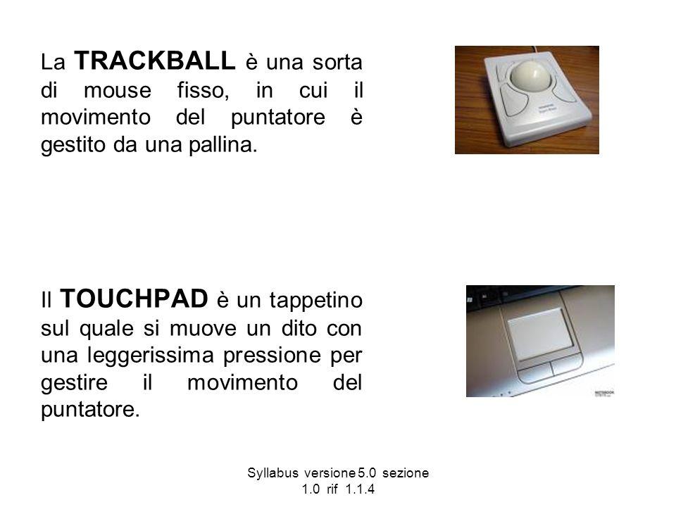 Syllabus versione 5.0 sezione 1.0 rif 1.1.4 La TRACKBALL è una sorta di mouse fisso, in cui il movimento del puntatore è gestito da una pallina. Il TO