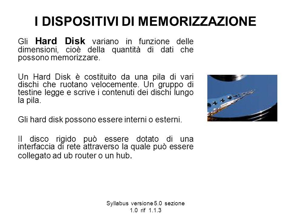 Syllabus versione 5.0 sezione 1.0 rif 1.1.3 I DISPOSITIVI DI MEMORIZZAZIONE Gli Hard Disk variano in funzione delle dimensioni, cioè della quantità di