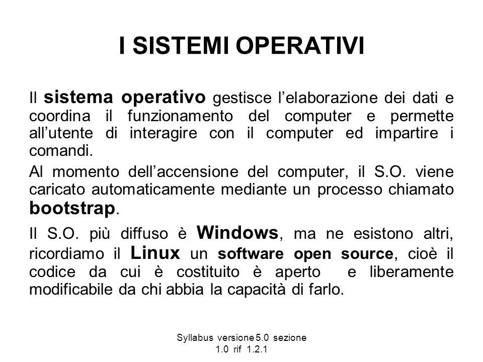 Syllabus versione 5.0 sezione 1.0 rif 1.2.1 I SISTEMI OPERATIVI Il sistema operativo gestisce lelaborazione dei dati e coordina il funzionamento del c
