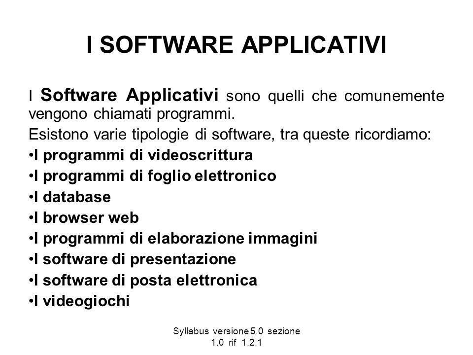 Syllabus versione 5.0 sezione 1.0 rif 1.2.1 I SOFTWARE APPLICATIVI I Software Applicativi sono quelli che comunemente vengono chiamati programmi. Esis