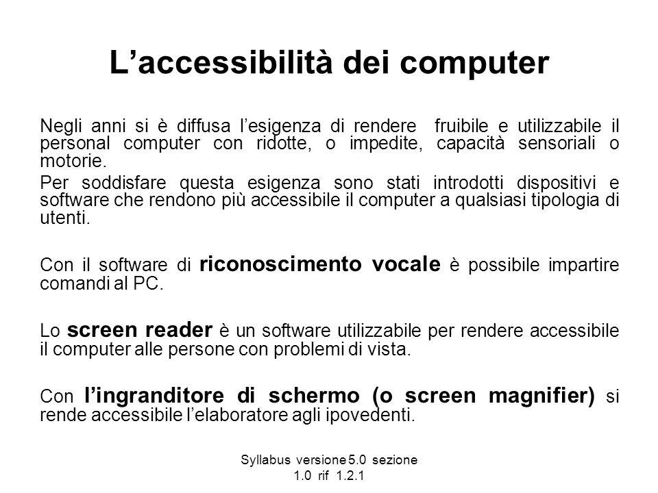 Syllabus versione 5.0 sezione 1.0 rif 1.2.1 Laccessibilità dei computer Negli anni si è diffusa lesigenza di rendere fruibile e utilizzabile il person